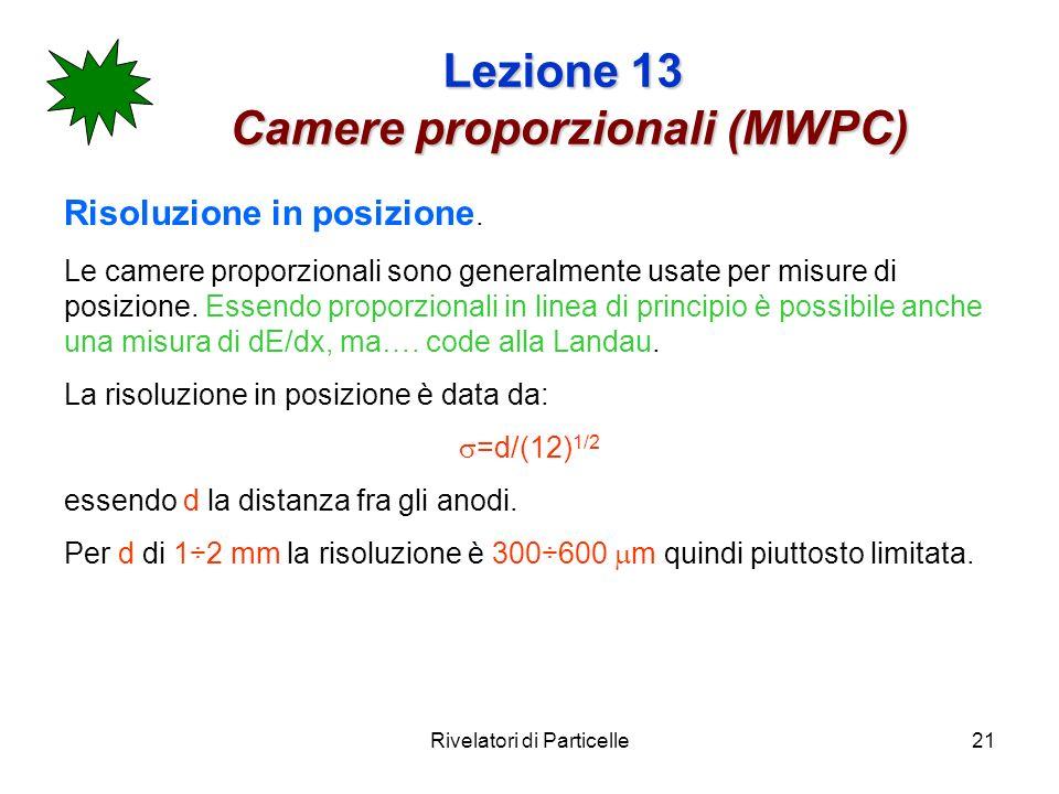 Rivelatori di Particelle21 Lezione 13 Camere proporzionali (MWPC) Risoluzione in posizione. Le camere proporzionali sono generalmente usate per misure