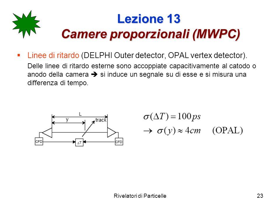 Rivelatori di Particelle23 Lezione 13 Camere proporzionali (MWPC) Linee di ritardo (DELPHI Outer detector, OPAL vertex detector). Delle linee di ritar