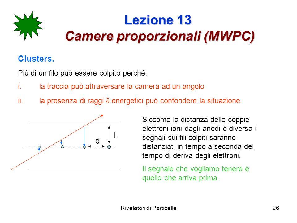 Rivelatori di Particelle26 Lezione 13 Camere proporzionali (MWPC) Clusters. Più di un filo può essere colpito perché: i.la traccia può attraversare la