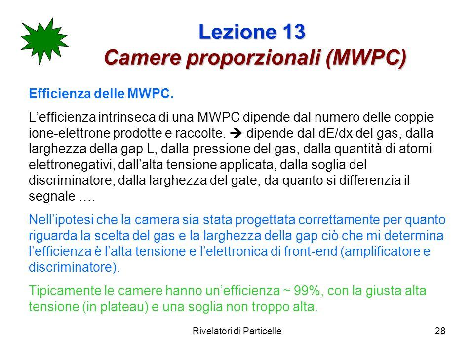 Rivelatori di Particelle28 Lezione 13 Camere proporzionali (MWPC) Efficienza delle MWPC. Lefficienza intrinseca di una MWPC dipende dal numero delle c