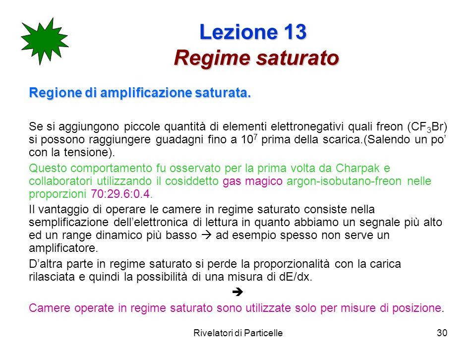 Rivelatori di Particelle30 Lezione 13 Regime saturato Regione di amplificazione saturata. Se si aggiungono piccole quantità di elementi elettronegativ