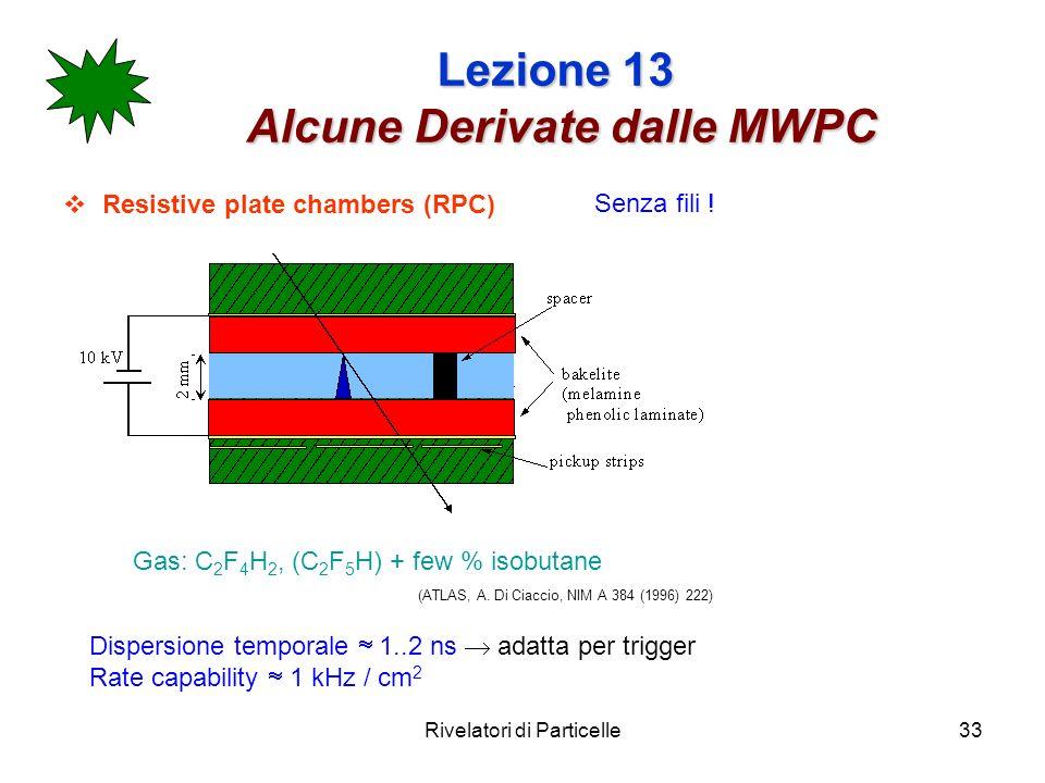 Rivelatori di Particelle33 Lezione 13 Alcune Derivate dalle MWPC Resistive plate chambers (RPC) Gas: C 2 F 4 H 2, (C 2 F 5 H) + few % isobutane (ATLAS