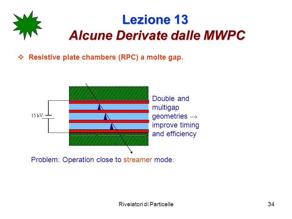 Rivelatori di Particelle34 Lezione 13 Alcune Derivate dalle MWPC Resistive plate chambers (RPC) a molte gap. Double and multigap geometries improve ti