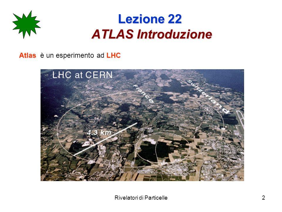 Rivelatori di Particelle13 Lezione 22 ATLAS lapparato Siamo ad un collider e cerchiamo eventi rari (higgs), piuttosto poco definiti (massa ignota).
