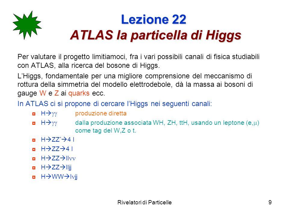 Rivelatori di Particelle10 Lezione 22 ATLAS richieste per lapparato Ottima calorimetria e.m.