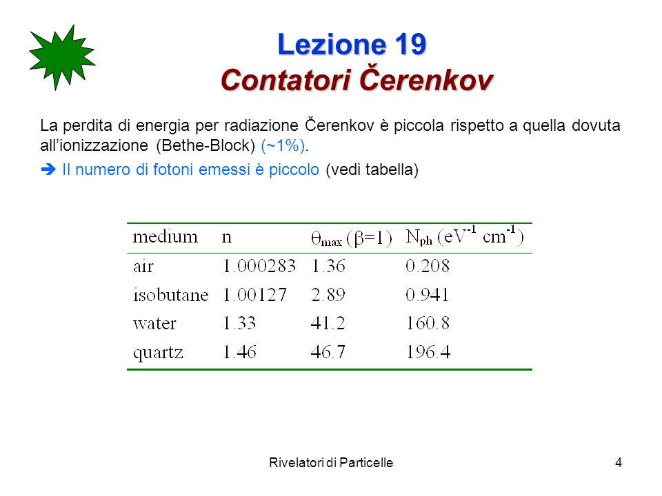 Rivelatori di Particelle5 Lezione 19 Contatori Čerenkov Il numero di foto-elettroni rivelabili per unità di lunghezza ed intervallo di lunghezza donda si ottiene integrando la: sulle lunghezze donda del visibile (350-500 nm) ( dove il fotorivelatore è sensibile) Esempio: per un apparato con Q.E.=0.2 lungo L=1cm e c =30° ci attendiamo N p.e.