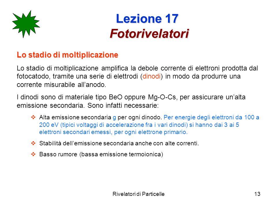 Rivelatori di Particelle13 Lezione 17 Fotorivelatori Lo stadio di moltiplicazione Lo stadio di moltiplicazione amplifica la debole corrente di elettro