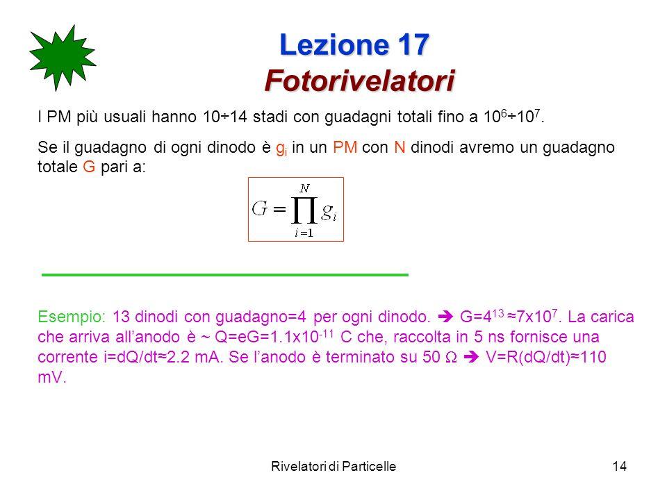 Rivelatori di Particelle14 Lezione 17 Fotorivelatori I PM più usuali hanno 10÷14 stadi con guadagni totali fino a 10 6 ÷10 7. Se il guadagno di ogni d