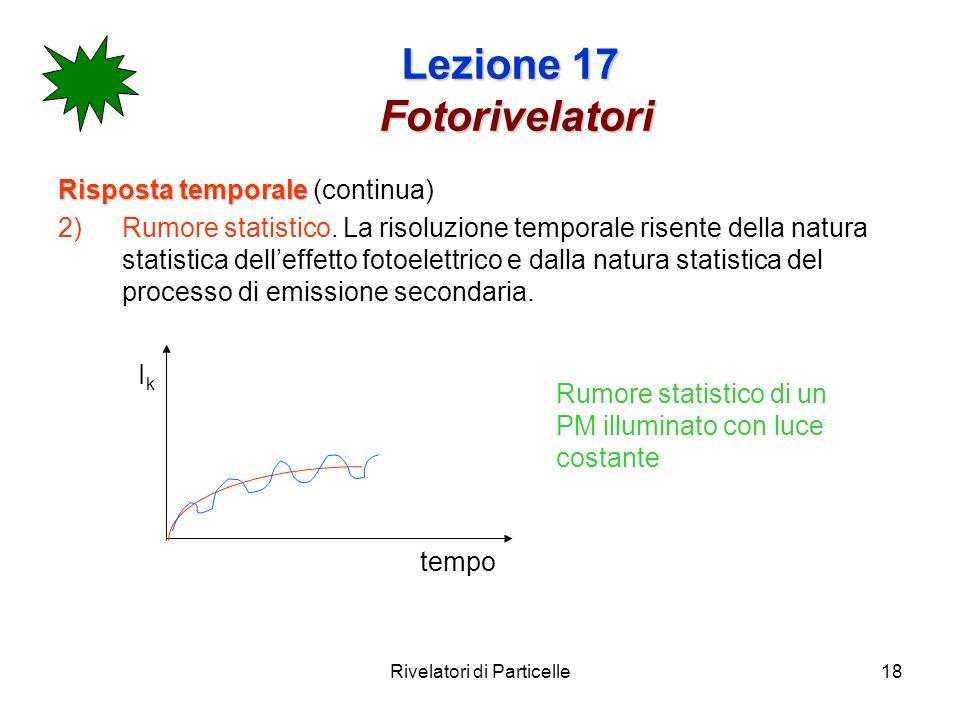 Rivelatori di Particelle18 Lezione 17 Fotorivelatori Risposta temporale Risposta temporale (continua) 2)Rumore statistico. La risoluzione temporale ri