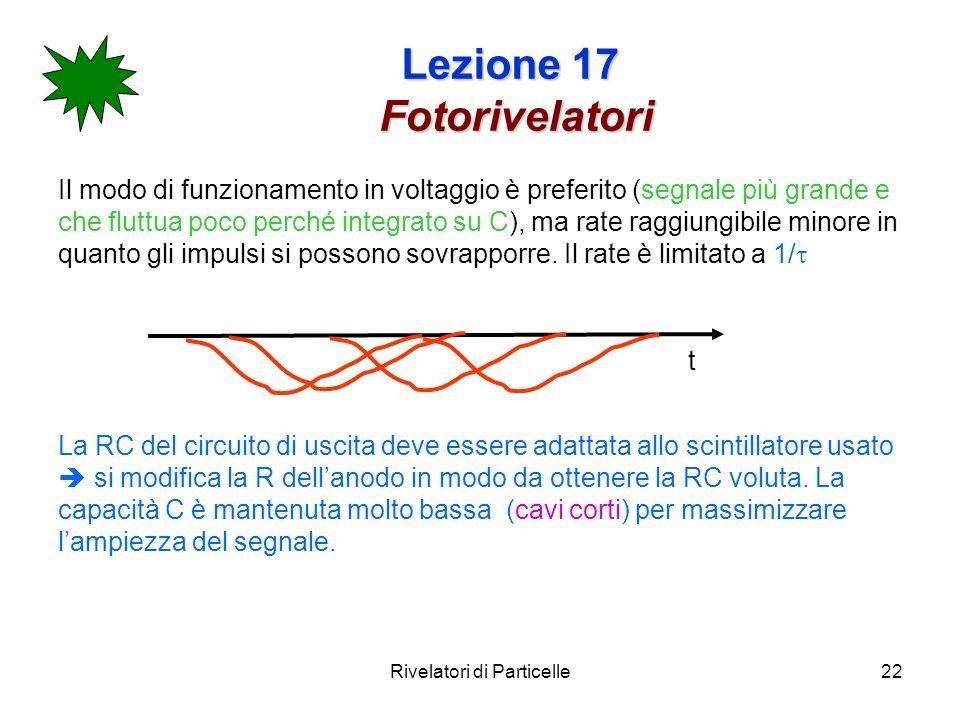 Rivelatori di Particelle22 Lezione 17 Fotorivelatori Il modo di funzionamento in voltaggio è preferito (segnale più grande e che fluttua poco perché i