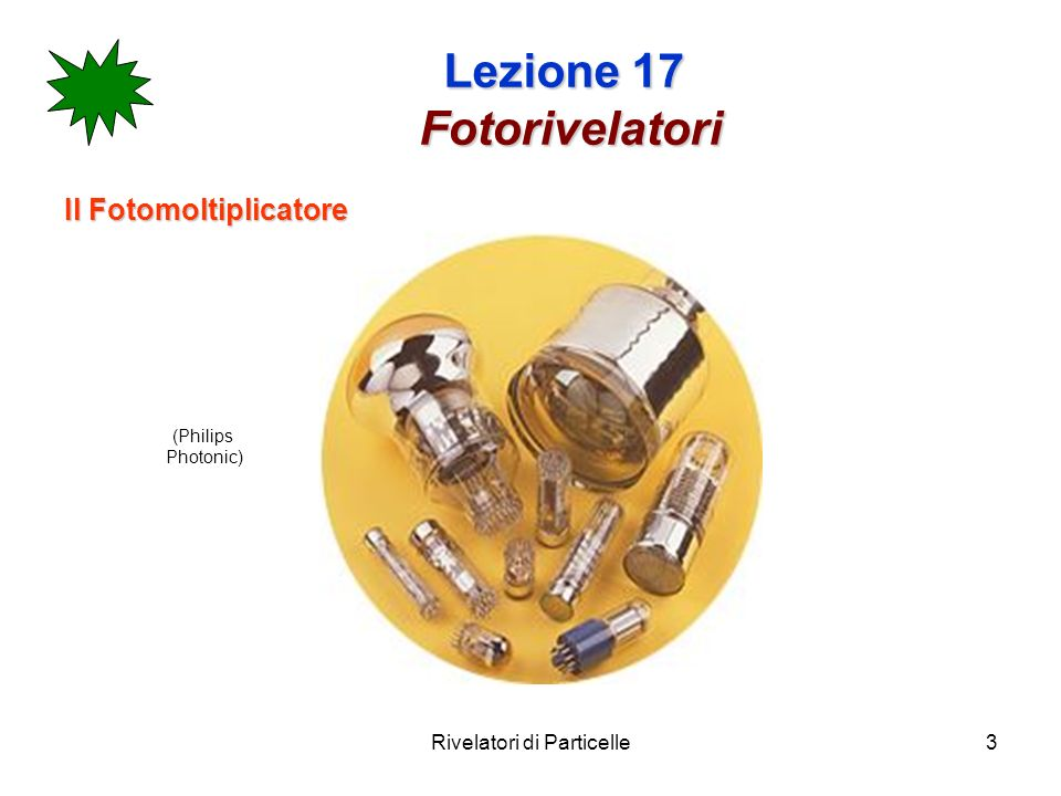 Rivelatori di Particelle4 Lezione 17 Fotorivelatori Il fotomoltiplicatore (PM) consiste in un catodo di materiale fotosensibile seguito da un sistema di raccolta degli elettroni, una sezione di moltiplicazione degli elettroni (dinodi) ed infine da un anodo dal quale si preleva il segnale elettrico.