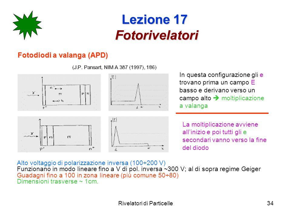 Rivelatori di Particelle34 Lezione 17 Fotorivelatori Fotodiodi a valanga (APD) In questa configurazione gli e trovano prima un campo E basso e derivan