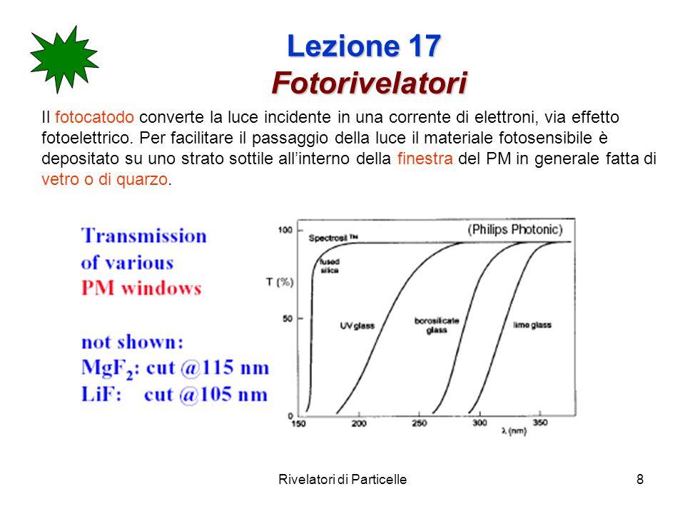 Rivelatori di Particelle9 Lezione 17 Fotorivelatori L energia cinetica degli elettroni emessi dal fotocatodo è : T=h dove è lenergia per strappare lelettrone dallatomo e la frequenza della luce incidente.