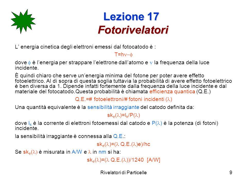 Rivelatori di Particelle9 Lezione 17 Fotorivelatori L energia cinetica degli elettroni emessi dal fotocatodo è : T=h dove è lenergia per strappare lel