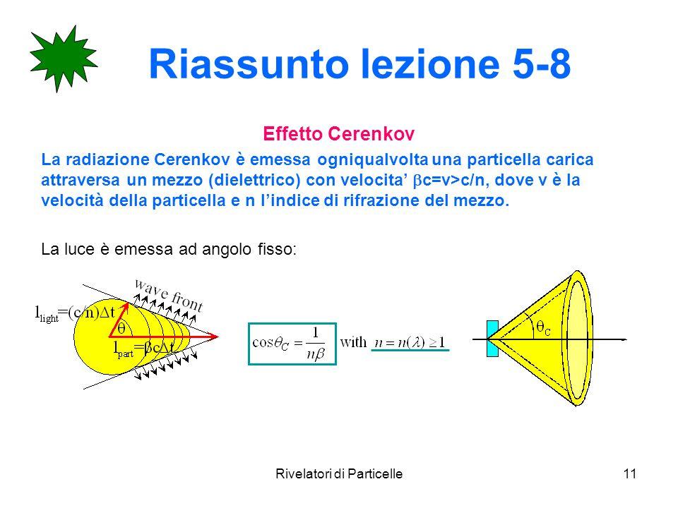 Rivelatori di Particelle11 Riassunto lezione 5-8 Effetto Cerenkov La radiazione Cerenkov è emessa ogniqualvolta una particella carica attraversa un me