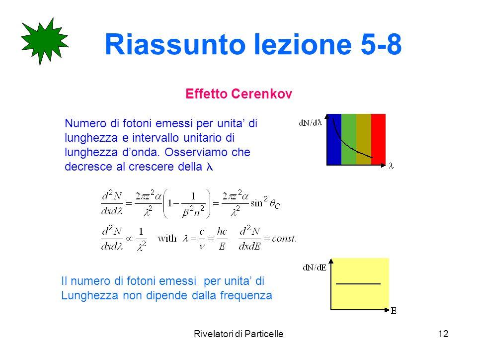 Rivelatori di Particelle12 Riassunto lezione 5-8 Effetto Cerenkov Numero di fotoni emessi per unita di lunghezza e intervallo unitario di lunghezza do