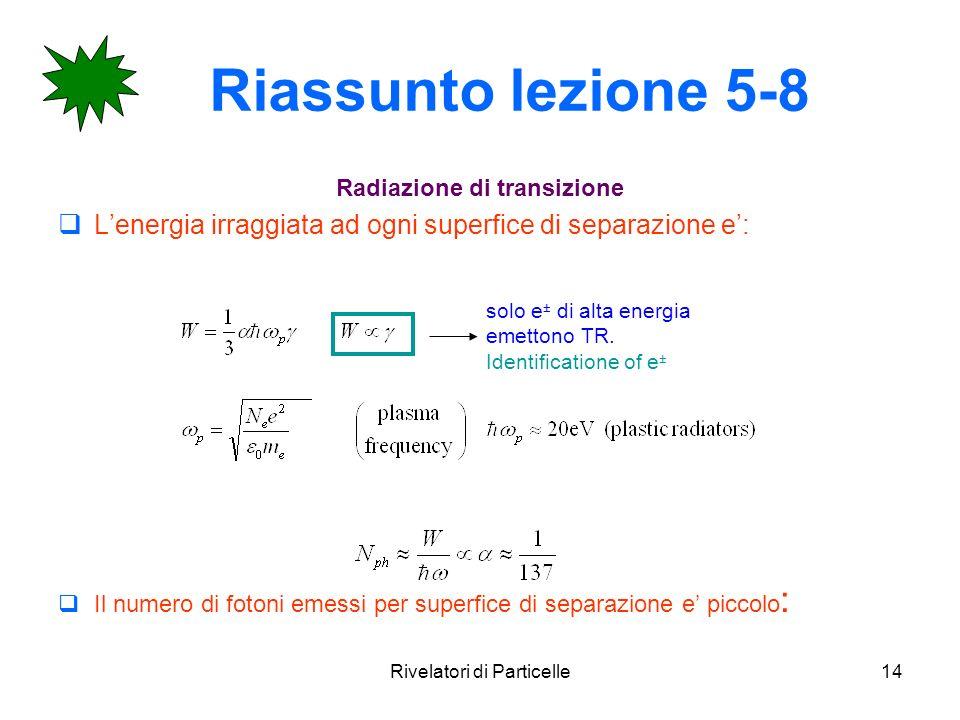 Rivelatori di Particelle14 Riassunto lezione 5-8 Radiazione di transizione Lenergia irraggiata ad ogni superfice di separazione e: Il numero di fotoni