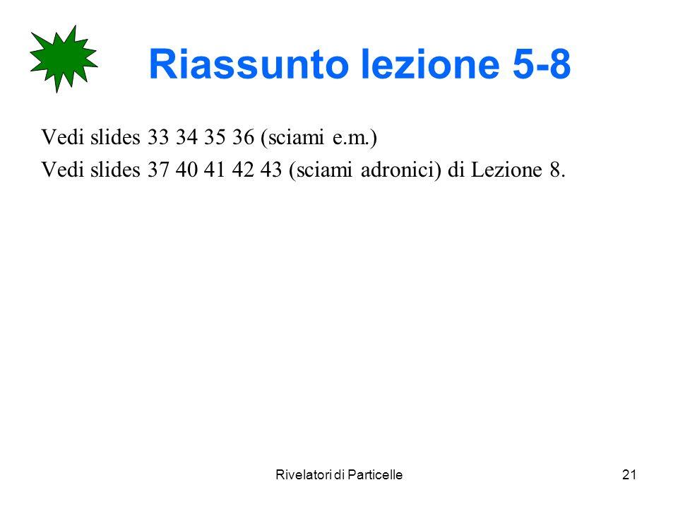 Rivelatori di Particelle21 Riassunto lezione 5-8 Vedi slides 33 34 35 36 (sciami e.m.) Vedi slides 37 40 41 42 43 (sciami adronici) di Lezione 8.