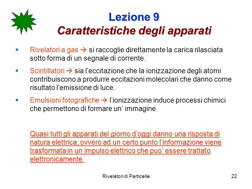 Rivelatori di Particelle22 Lezione 9 Caratteristiche degli apparati Rivelatori a gas si raccoglie direttamente la carica rilasciata sotto forma di un