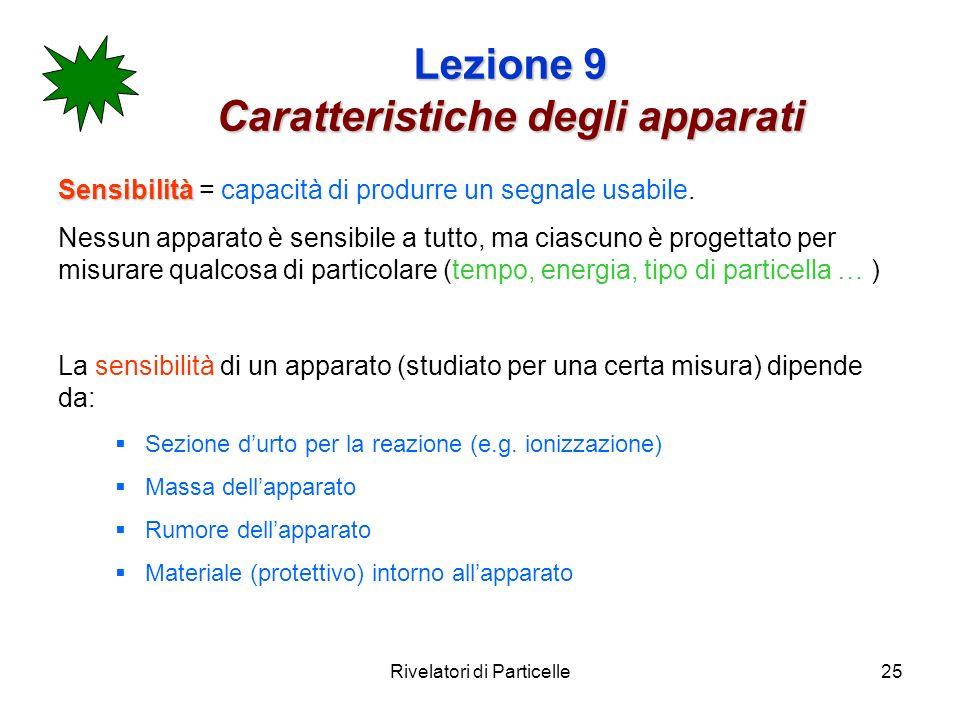 Rivelatori di Particelle25 Lezione 9 Caratteristiche degli apparati Sensibilità Sensibilità = capacità di produrre un segnale usabile. Nessun apparato