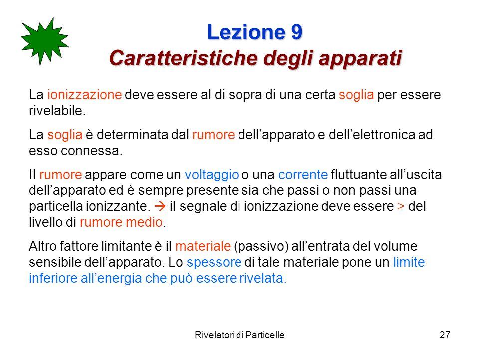 Rivelatori di Particelle27 Lezione 9 Caratteristiche degli apparati La ionizzazione deve essere al di sopra di una certa soglia per essere rivelabile.