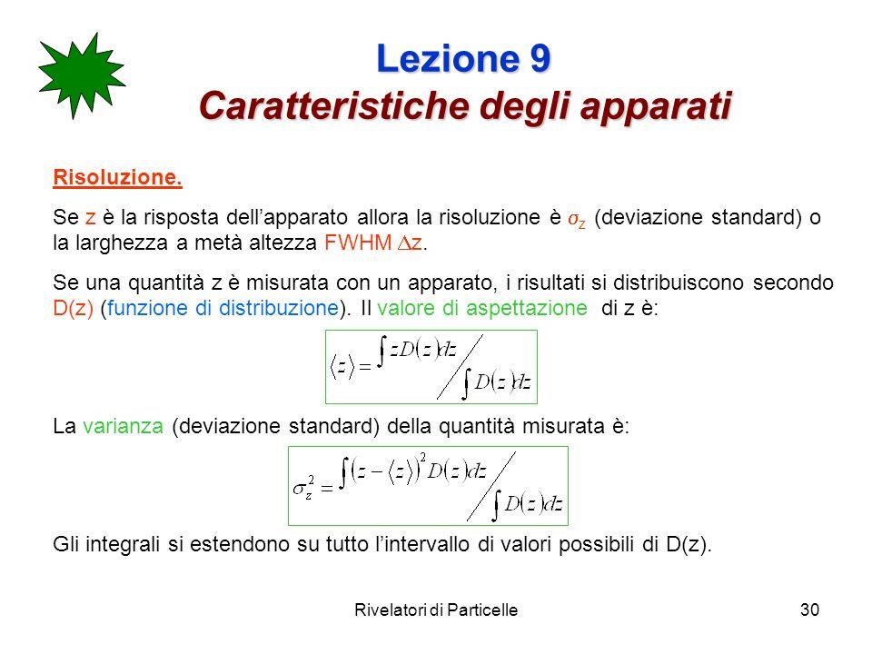 Rivelatori di Particelle30 Lezione 9 Caratteristiche degli apparati Risoluzione. Se z è la risposta dellapparato allora la risoluzione è z (deviazione