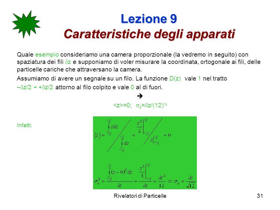 Rivelatori di Particelle31 Lezione 9 Caratteristiche degli apparati Quale esempio consideriamo una camera proporzionale (la vedremo in seguito) con sp
