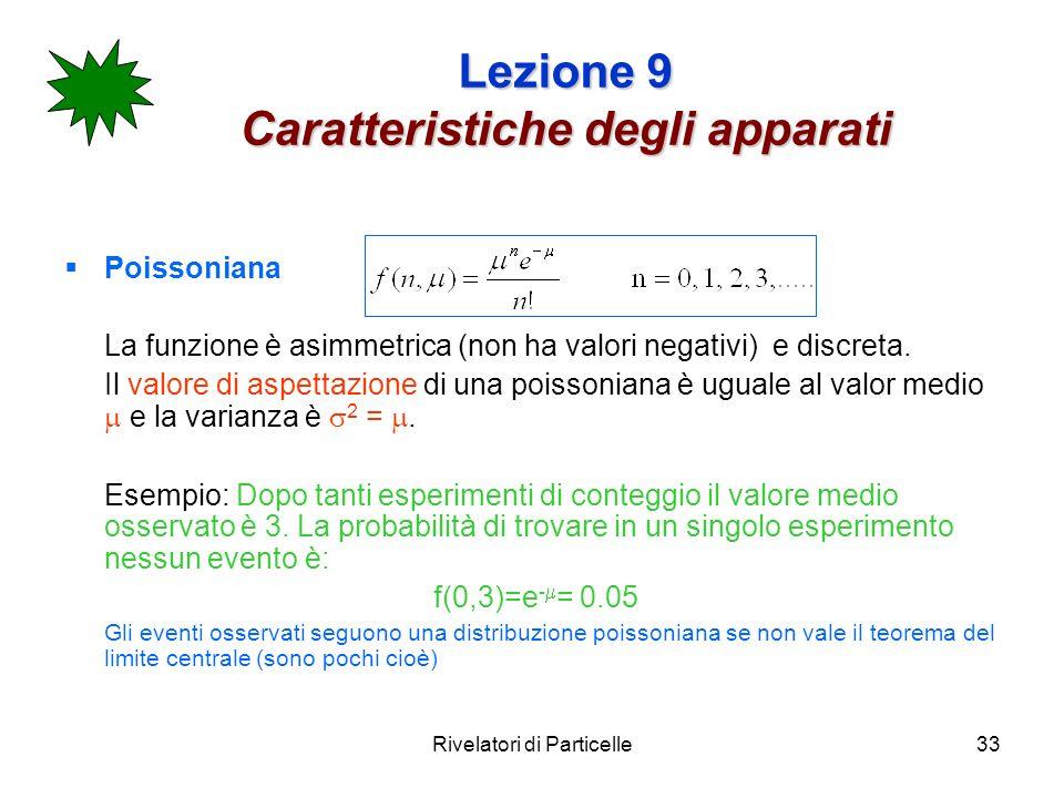 Rivelatori di Particelle33 Lezione 9 Caratteristiche degli apparati Poissoniana La funzione è asimmetrica (non ha valori negativi) e discreta. Il valo