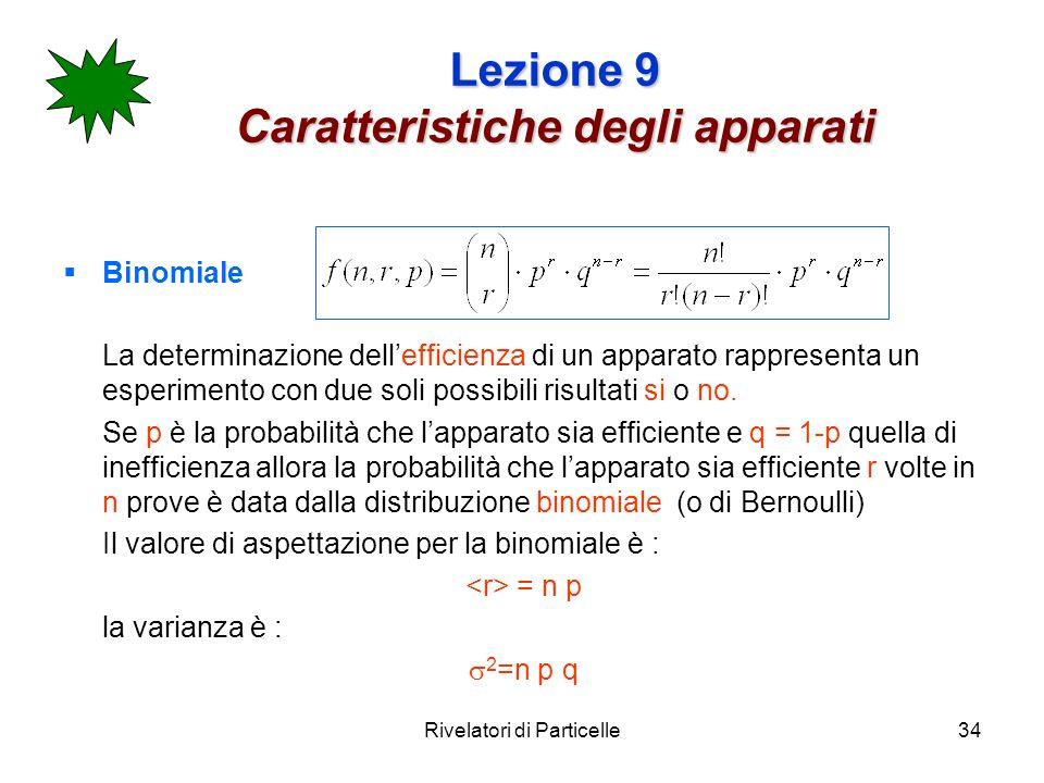 Rivelatori di Particelle34 Lezione 9 Caratteristiche degli apparati Binomiale La determinazione dellefficienza di un apparato rappresenta un esperimen