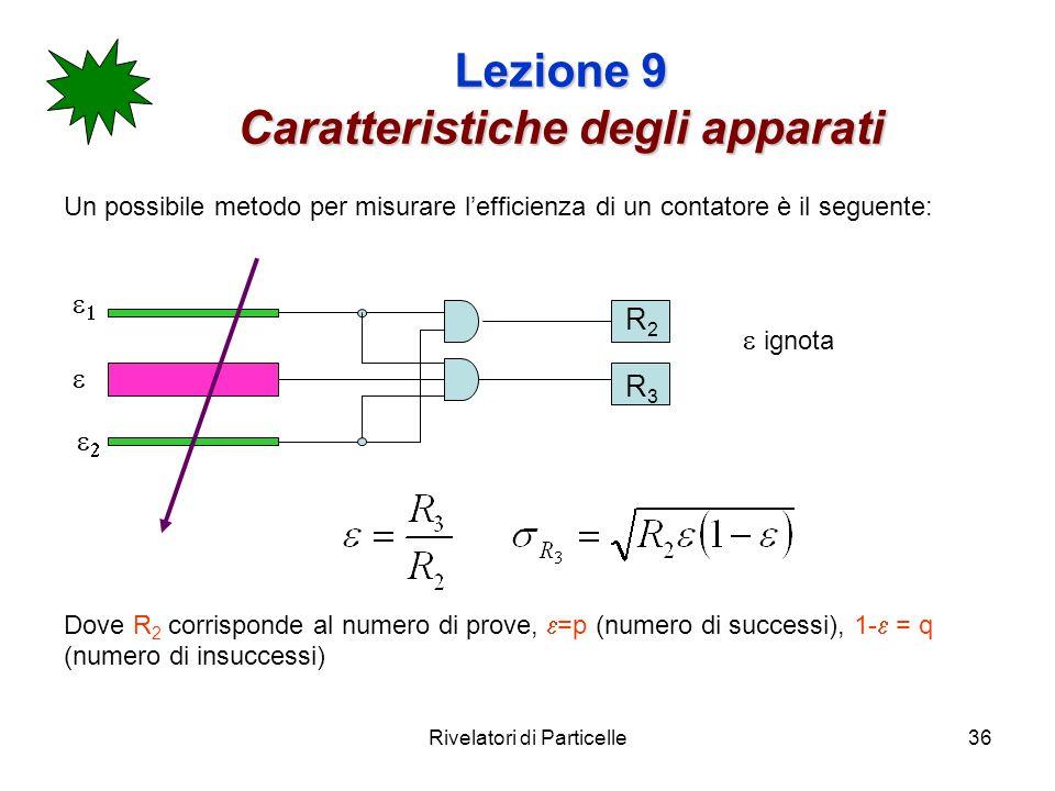 Rivelatori di Particelle36 Lezione 9 Caratteristiche degli apparati Un possibile metodo per misurare lefficienza di un contatore è il seguente: Dove R