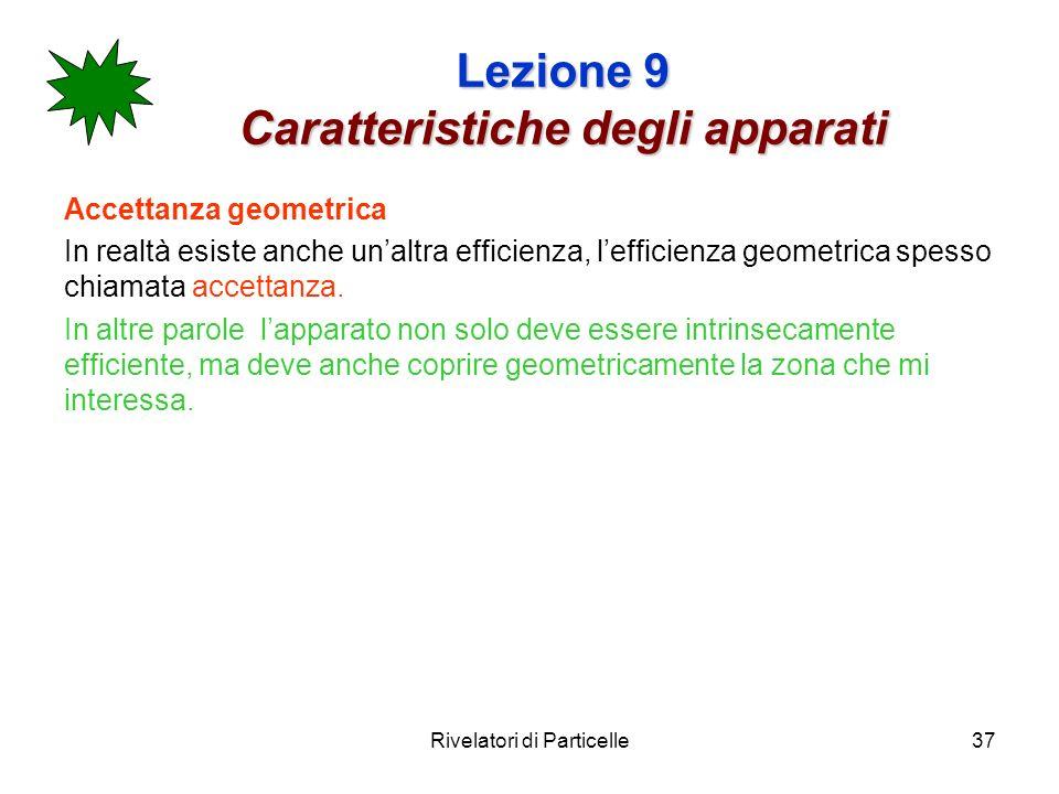 Rivelatori di Particelle37 Lezione 9 Caratteristiche degli apparati Accettanza geometrica In realtà esiste anche unaltra efficienza, lefficienza geome