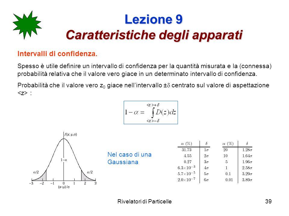 Rivelatori di Particelle39 Lezione 9 Caratteristiche degli apparati Intervalli di confidenza. Spesso è utile definire un intervallo di confidenza per