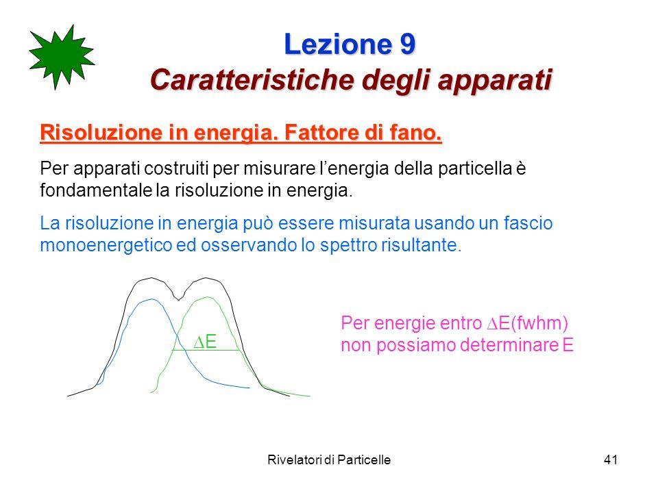 Rivelatori di Particelle41 Lezione 9 Caratteristiche degli apparati Risoluzione in energia. Fattore di fano. Per apparati costruiti per misurare lener