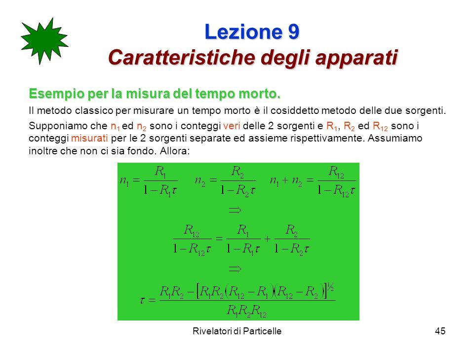 Rivelatori di Particelle45 Lezione 9 Caratteristiche degli apparati Esempio per la misura del tempo morto. Il metodo classico per misurare un tempo mo