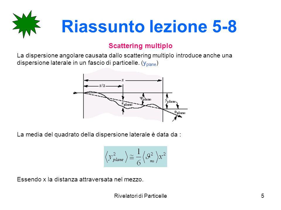 Rivelatori di Particelle5 Riassunto lezione 5-8 Scattering multiplo La dispersione angolare causata dallo scattering multiplo introduce anche una disp