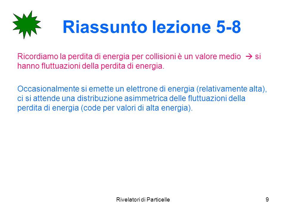Rivelatori di Particelle9 Riassunto lezione 5-8 Ricordiamo la perdita di energia per collisioni è un valore medio si hanno fluttuazioni della perdita