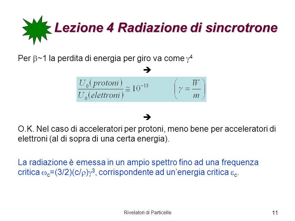 Rivelatori di Particelle 11 Lezione 4 Radiazione di sincrotrone Per ~1 la perdita di energia per giro va come 4 O.K. Nel caso di acceleratori per prot