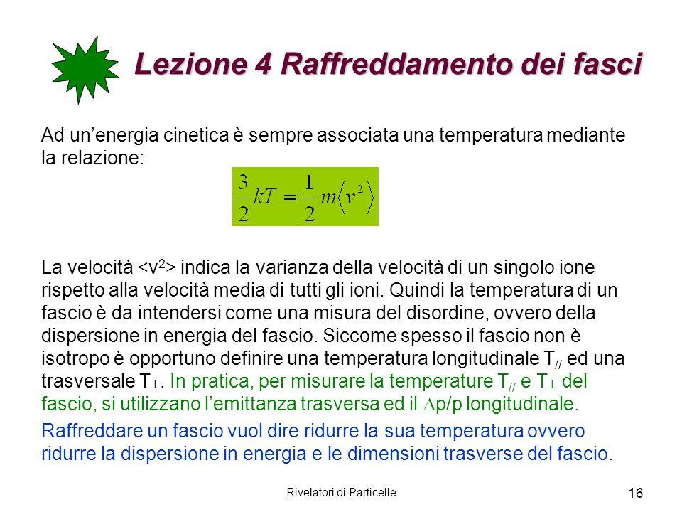 Rivelatori di Particelle 16 Lezione 4 Raffreddamento dei fasci Ad unenergia cinetica è sempre associata una temperatura mediante la relazione: La velo