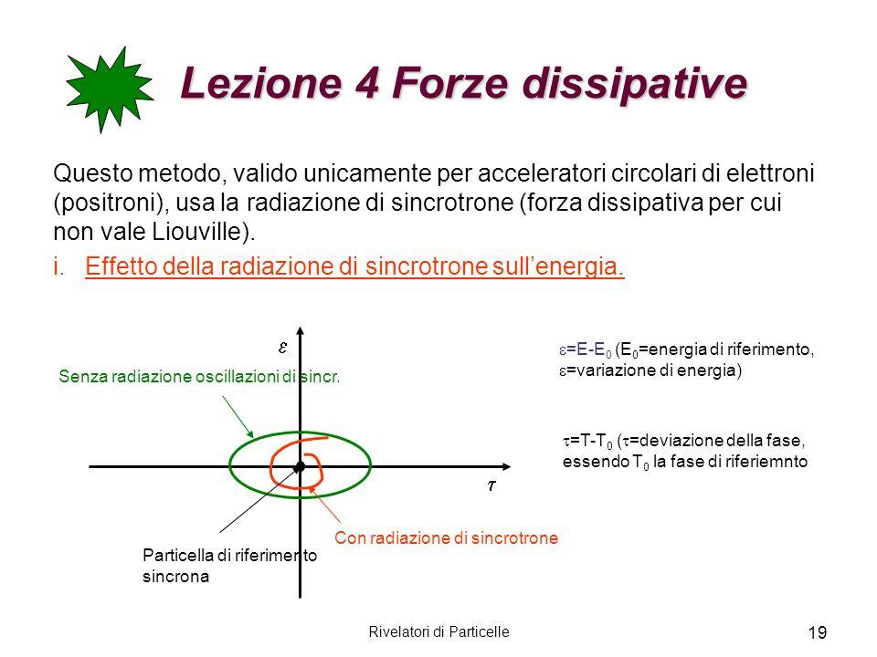 Rivelatori di Particelle 19 Lezione 4 Forze dissipative Lezione 4 Forze dissipative Questo metodo, valido unicamente per acceleratori circolari di ele