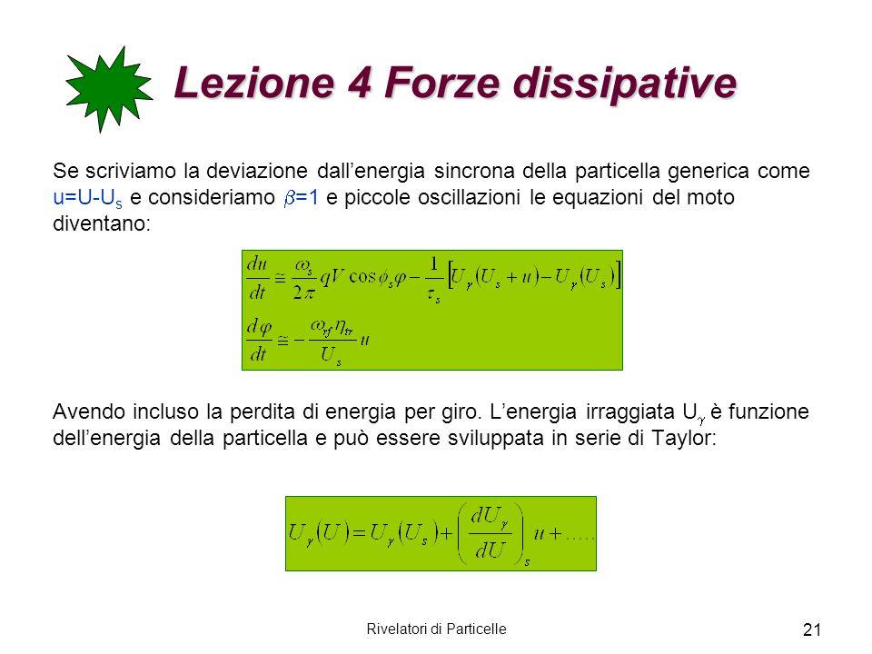 Rivelatori di Particelle 21 Lezione 4 Forze dissipative Lezione 4 Forze dissipative Se scriviamo la deviazione dallenergia sincrona della particella g