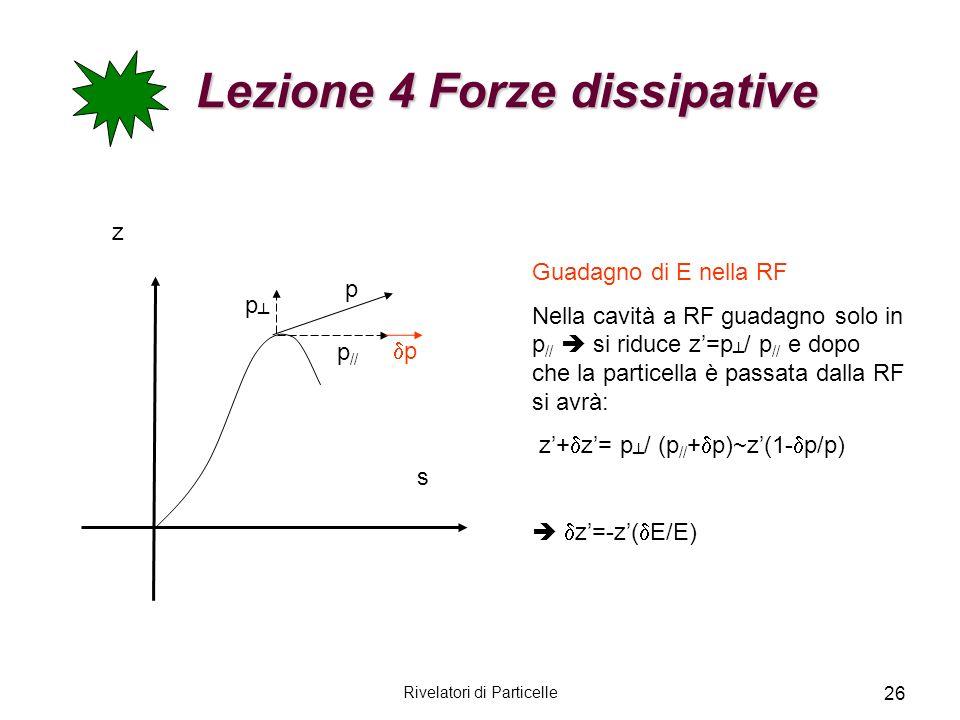 Rivelatori di Particelle 26 Lezione 4 Forze dissipative Lezione 4 Forze dissipative z s p // p p p Guadagno di E nella RF Nella cavità a RF guadagno s