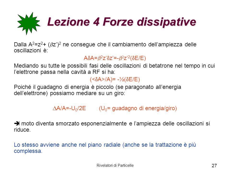 Rivelatori di Particelle 27 Lezione 4 Forze dissipative Lezione 4 Forze dissipative Dalla A 2 =z 2 + ( z) 2 ne consegue che il cambiamento dellampiezz