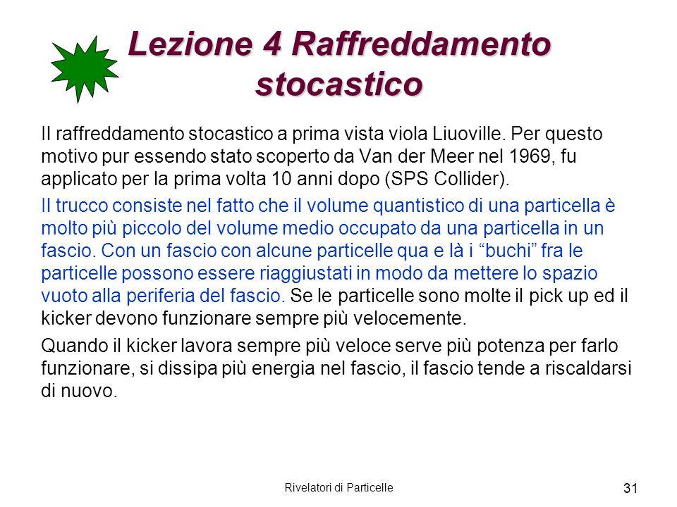 Rivelatori di Particelle 31 Lezione 4 Raffreddamento stocastico Il raffreddamento stocastico a prima vista viola Liuoville. Per questo motivo pur esse