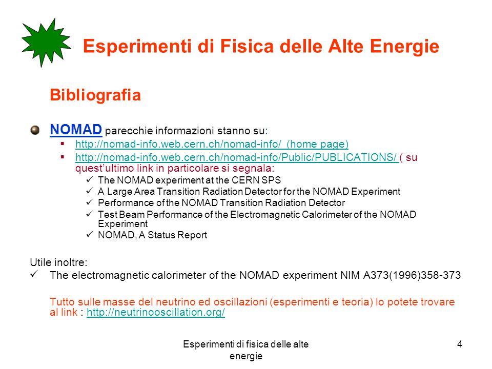 Esperimenti di fisica delle alte energie 4 Esperimenti di Fisica delle Alte Energie Bibliografia NOMAD parecchie informazioni stanno su: http://nomad-info.web.cern.ch/nomad-info/ (home page) http://nomad-info.web.cern.ch/nomad-info/Public/PUBLICATIONS/ ( su questultimo link in particolare si segnala: http://nomad-info.web.cern.ch/nomad-info/Public/PUBLICATIONS/ The NOMAD experiment at the CERN SPS A Large Area Transition Radiation Detector for the NOMAD Experiment Performance of the NOMAD Transition Radiation Detector Test Beam Performance of the Electromagnetic Calorimeter of the NOMAD Experiment NOMAD, A Status Report Utile inoltre: The electromagnetic calorimeter of the NOMAD experiment NIM A373(1996)358-373 Tutto sulle masse del neutrino ed oscillazioni (esperimenti e teoria) lo potete trovare al link : http://neutrinooscillation.org/http://neutrinooscillation.org/