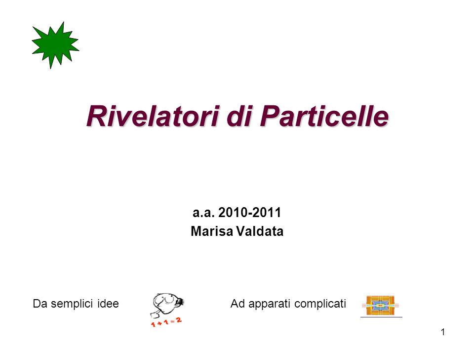 1 Rivelatori di Particelle a.a. 2010-2011 Marisa Valdata Da semplici ideeAd apparati complicati