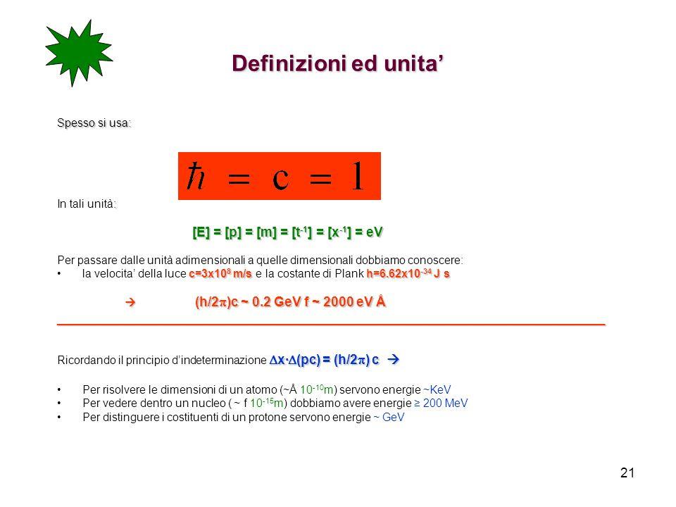 21 Definizioni ed unita Spesso si usa: : In tali unità: [E] = [p] = [m] = [t -1 ] = [x -1 ] = eV Per passare dalle unità adimensionali a quelle dimens