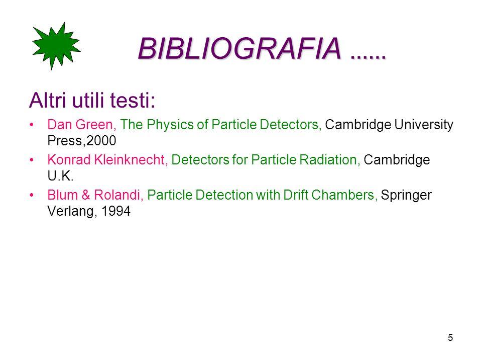 5 BIBLIOGRAFIA …… Altri utili testi: Dan Green, The Physics of Particle Detectors, Cambridge University Press,2000 Konrad Kleinknecht, Detectors for P
