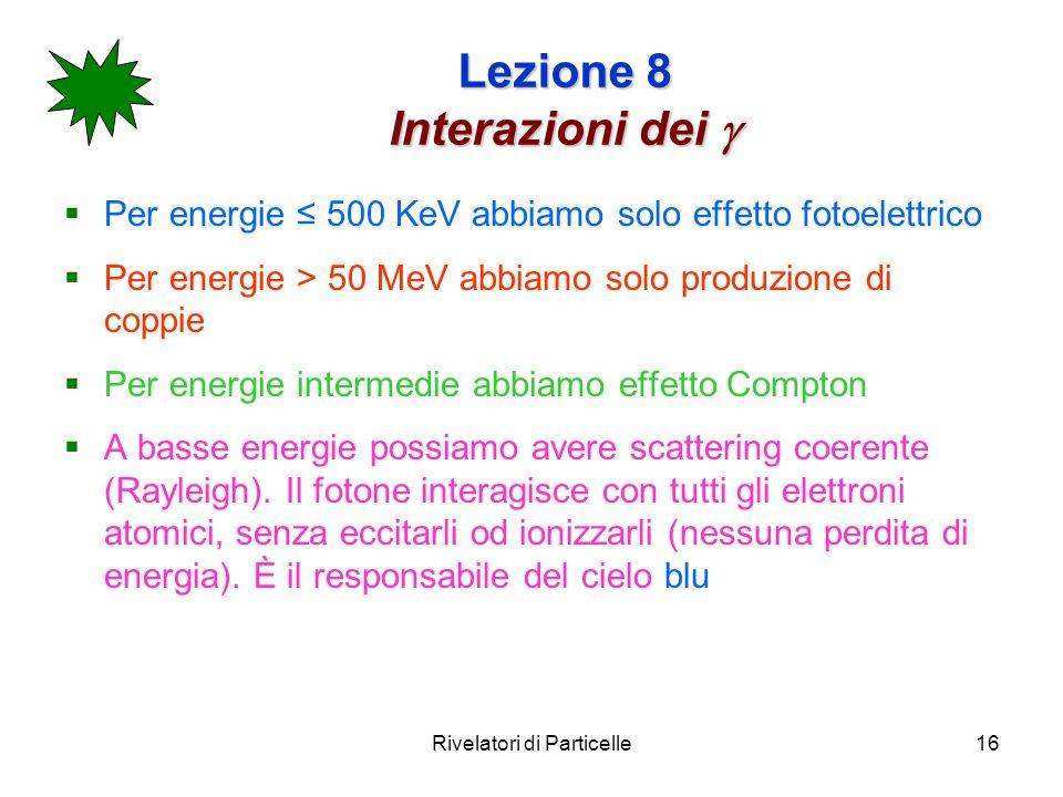 Rivelatori di Particelle16 Lezione 8 Interazioni dei Lezione 8 Interazioni dei Per energie 500 KeV abbiamo solo effetto fotoelettrico Per energie > 50