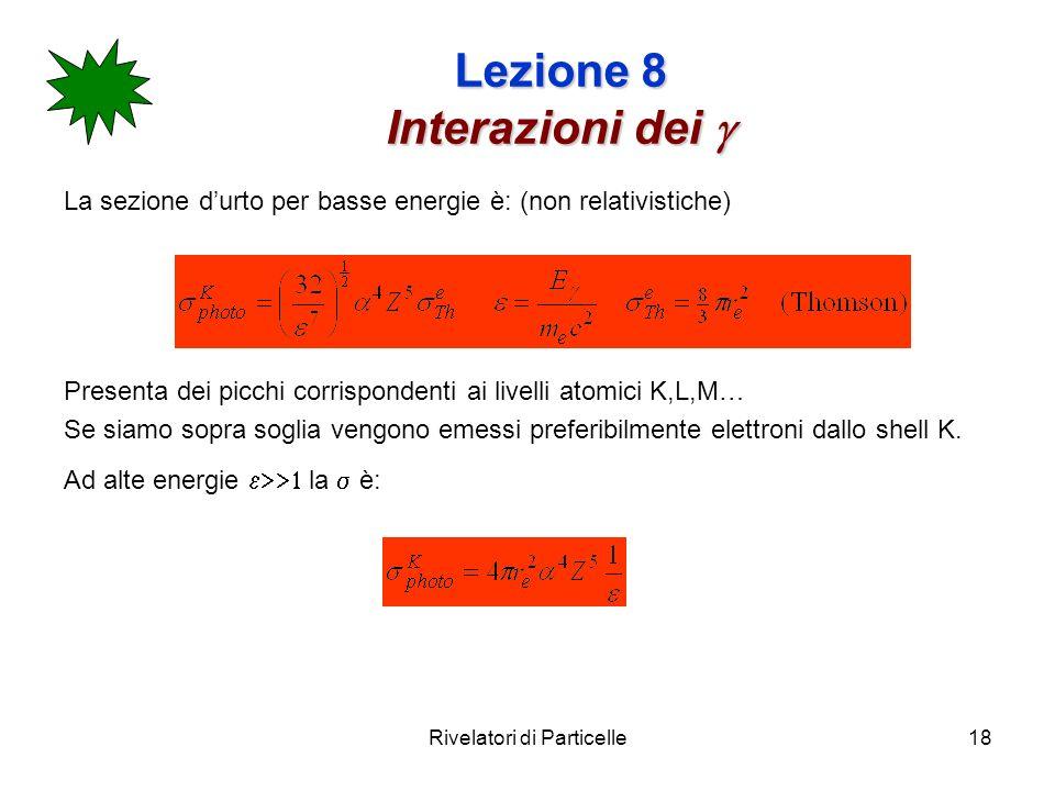 Rivelatori di Particelle18 Lezione 8 Interazioni dei Lezione 8 Interazioni dei La sezione durto per basse energie è: (non relativistiche) Presenta dei