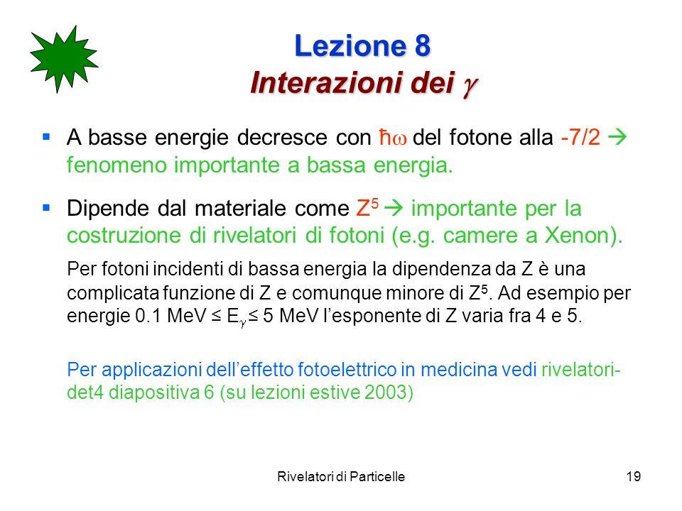 Rivelatori di Particelle19 Lezione 8 Interazioni dei Lezione 8 Interazioni dei A basse energie decresce con ħ del fotone alla -7/2 fenomeno importante